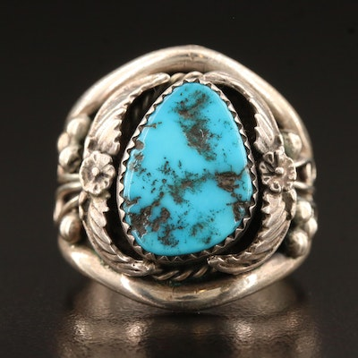 Artist Signed Southwestern Sterling Silver Turquoise Ring