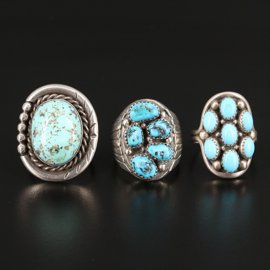 Western Style Sterling Silver Turquoise Rings
