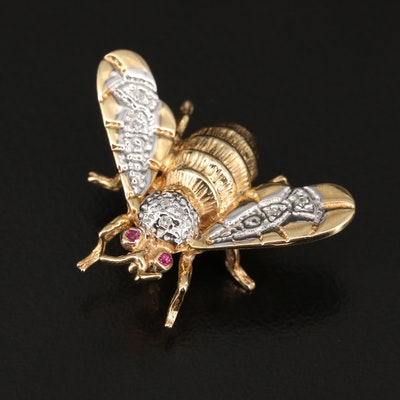 14K Diamond and Ruby Bee Brooch