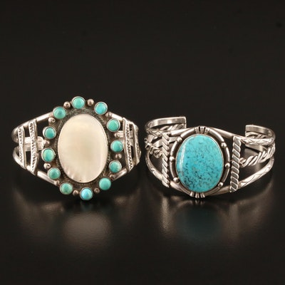 Southwestern Sterling Silver Turquoise and Mother of Pearl Handmade Cuffs