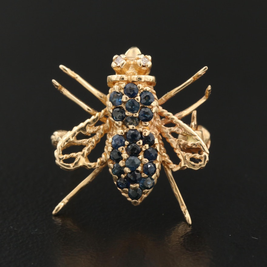 14K Sapphire and Diamond Bee Converter Brooch