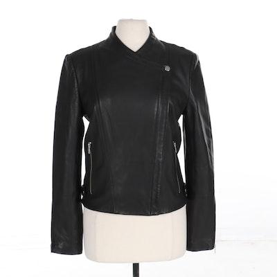 Theory Asymmetrical Zippered Jacket in Black Lambskin Leather