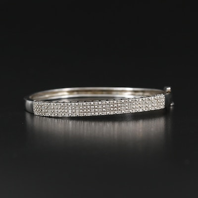 Sterling Silver Diamond Hinged Oval Bangle