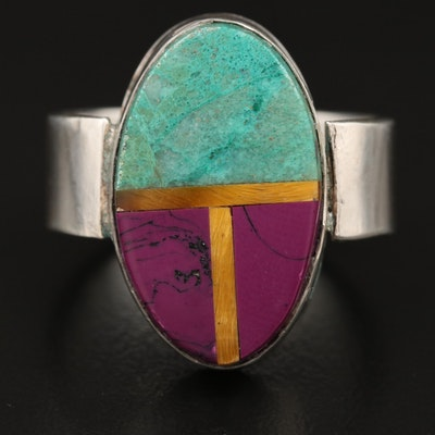 Sterling Silver Quartzite, Tiger's Eye and Faux Sugilite Inlay Ring