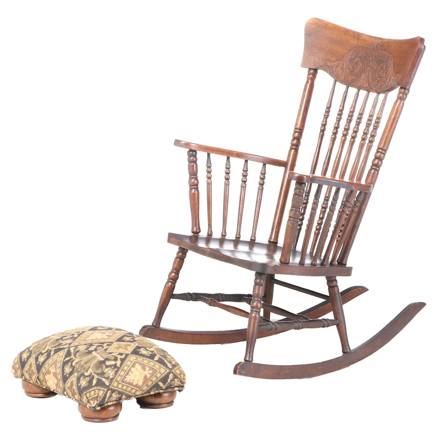 Late Victorian Oak Rocker Plus Footstool, Late 19th/Early 20th Century and Later