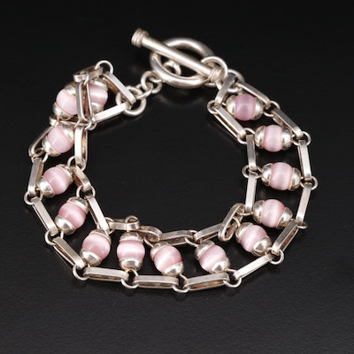Mexican Sterling Round Glass Bead Bracelet