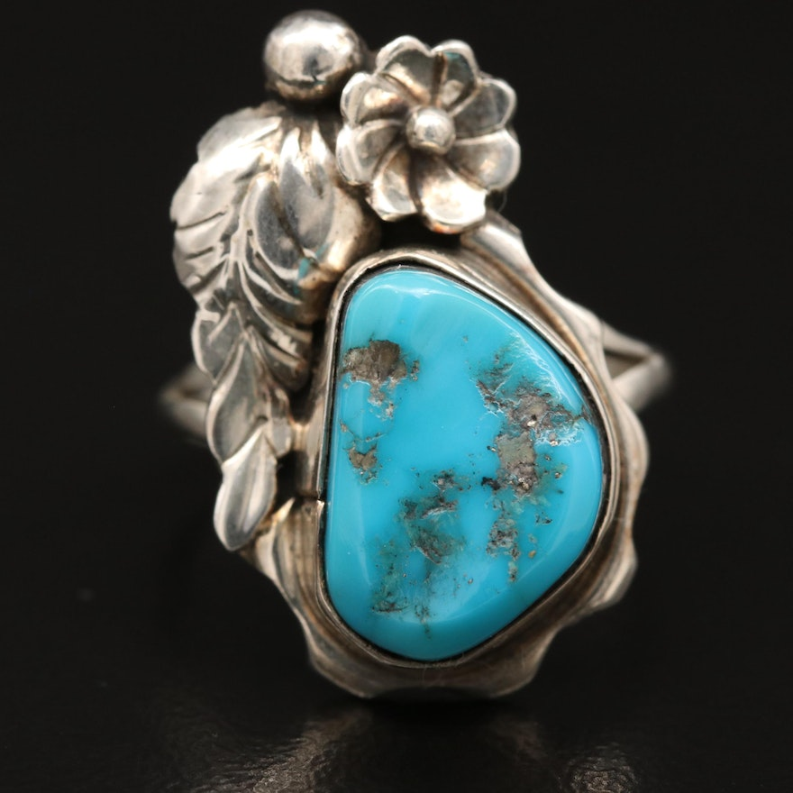 Sterling Silver Turquoise Foliate Ring