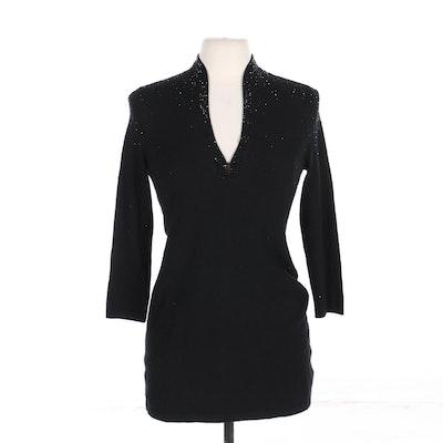 Tory Burch Rhinestone Embellished Sweater in Black Wool