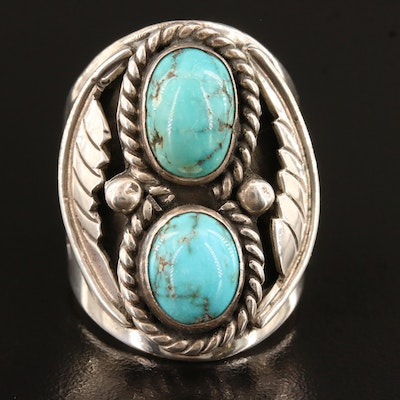 Signed Southwestern Sterling Silver Turquoise Ring