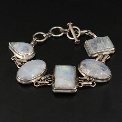 Sterling Silver Labradorite Link Bracelet