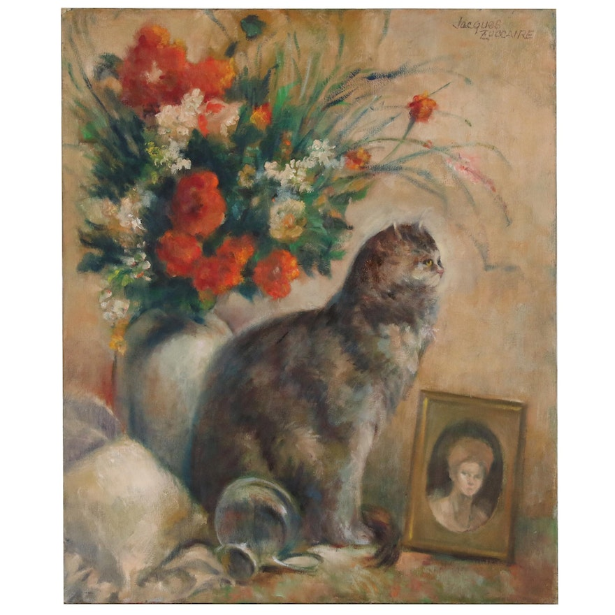 Jacques Zuccaire Oil Painting of Cat Portrait with Flowers