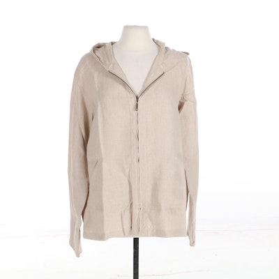 Henri Bendel Spa Hooded Zip Jacket in Linen