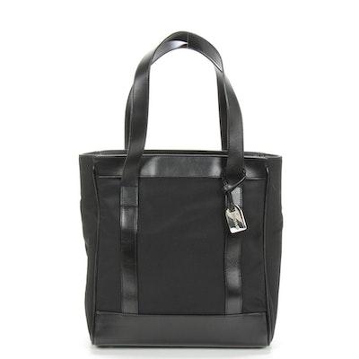 Gucci Black Nylon Canvas Tote Trimmed in Leather