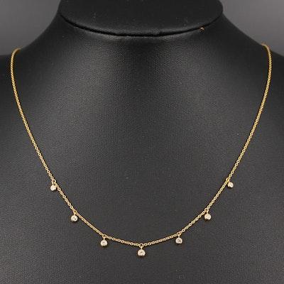 10K Minimalist Diamond Fringe Necklace