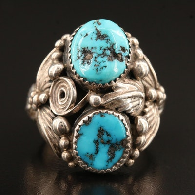 Signed Southwestern Style Sterling Silver Turquoise Ring