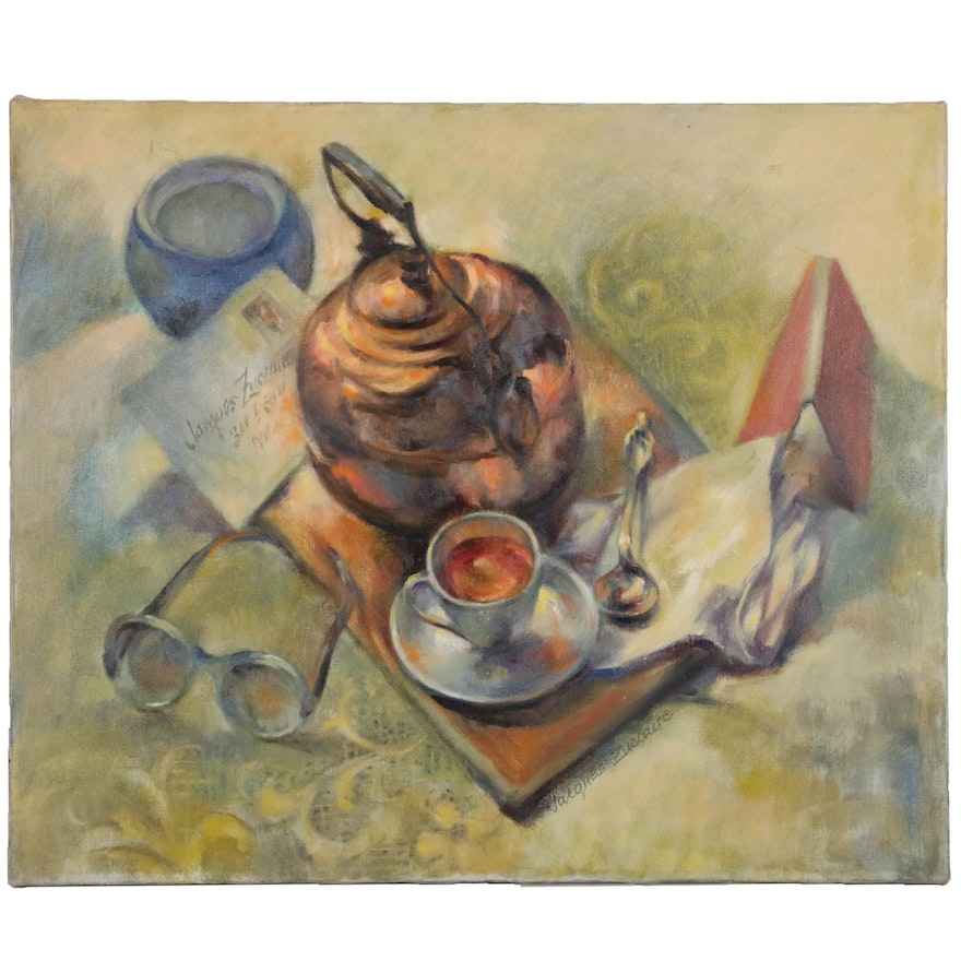 Jacques Zuccaire Still Life Oil Painting, Mid to Late 20th Century