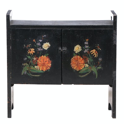 American Primitive Ebonized and Painted Oak Side Cabinet, Poss. Shoe Shine Bench