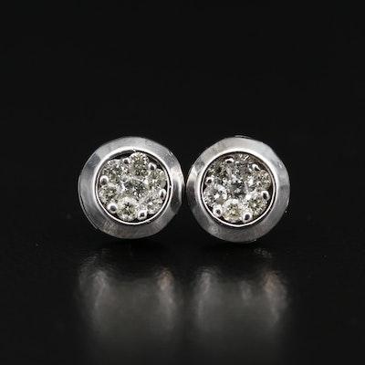 14K Diamond Cluster Stud Earrings