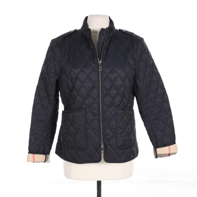 Burberry Brit Zippered Jacket in Navy Quilted Nylon