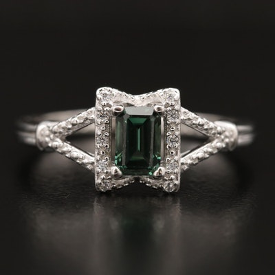 Sterling Silver Spinel and Cubic Zirconia Ring