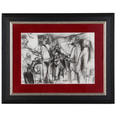Charcoal Drawing of Musical Ensemble, Late 20th Century