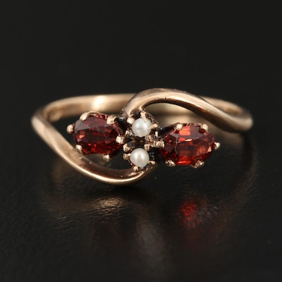 Vintage 10K Garnet and Pearl Bypass Ring
