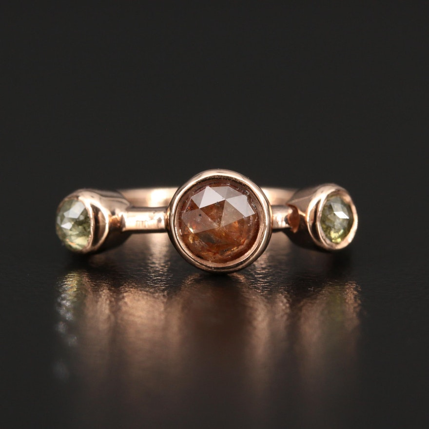 14K Rose Gold Bezel Set Diamond Minimalist Ring