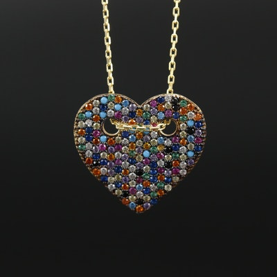 Sterling Silver Cubic Zirconia Cluster Heart Pendant Necklace