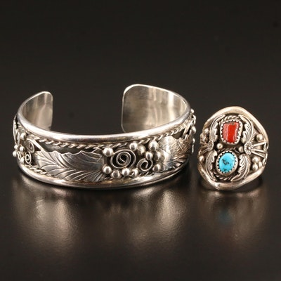 Signed Southwestern Sterling Silver Turquoise and Coral Ring and Cuff
