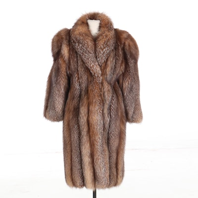 Crystal Fox Fur Long Coat