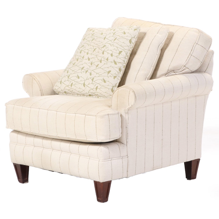 Contemporary Upholstered Rolled Arm Lounge Chair