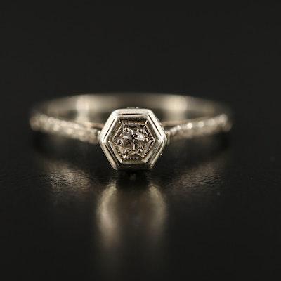 Vintage 18K Diamond Openwork Hex Set Ring