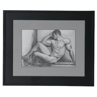 Kevin Ford Figural Graphite Drawing of Male Nude, Late 20th Century