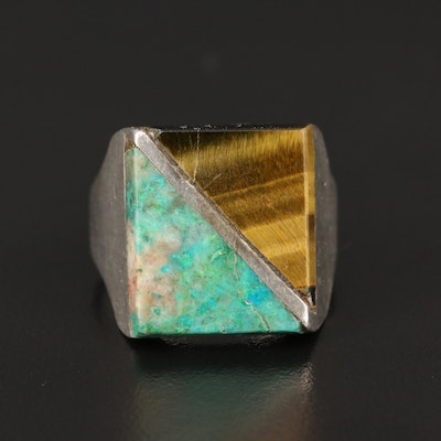 Mexican Sterling Silver Tiger's Eye and Chrysocolla Inlay Ring