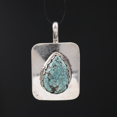 Western Style Sterling Turquoise Pendant with Spider-Web Matrix