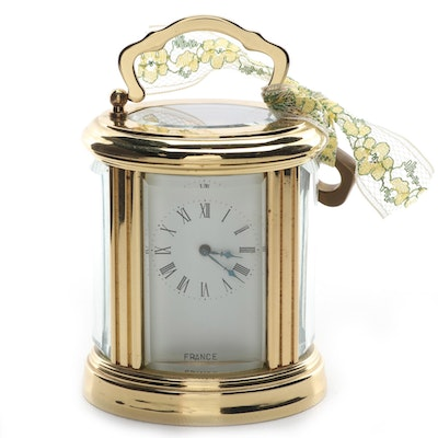 French Brass Caged Carriage Clock