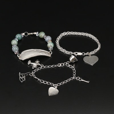 Selection of Agate and Glass Bead and Charm Bracelets