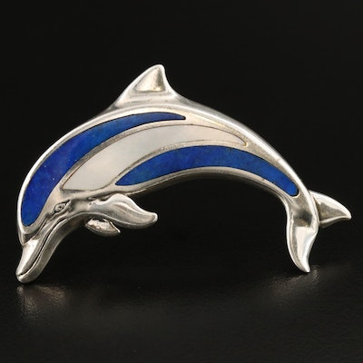 Kabana Sterling Silver Dolphin Brooch with Lapis Lazuli Inlay