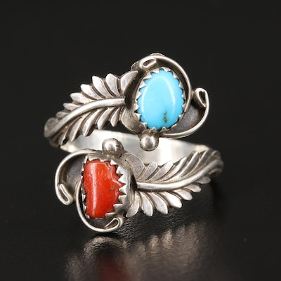 Signed Southwestern Sterling Turquoise and Coral Leaf Bypass Ring