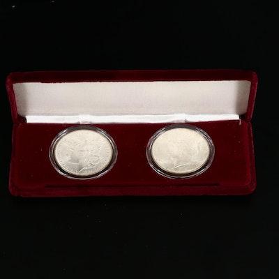 1884-O Morgan and 1922 Peace Silver Dollars