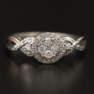 10K Diamond Cluster Ring with Halo