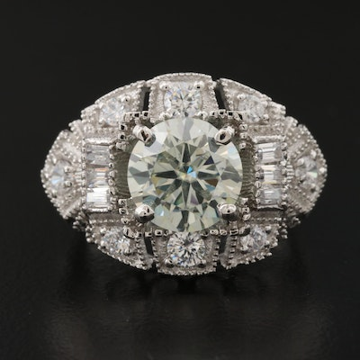 Sterling Silver Moissanite and Cubic Zirconia Ring