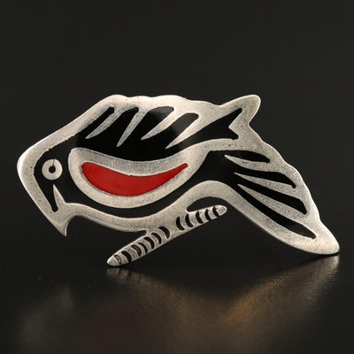 Mexican Sterling Silver Enamel Inlay Bird Brooch