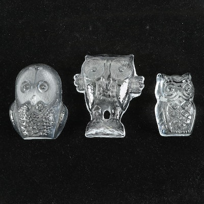 Glass Owl Figurines Including Viking, Mid to Late 20th Century