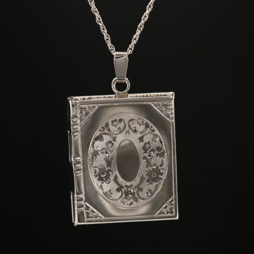 Sterling Engraved Book Locket Pendant Necklace