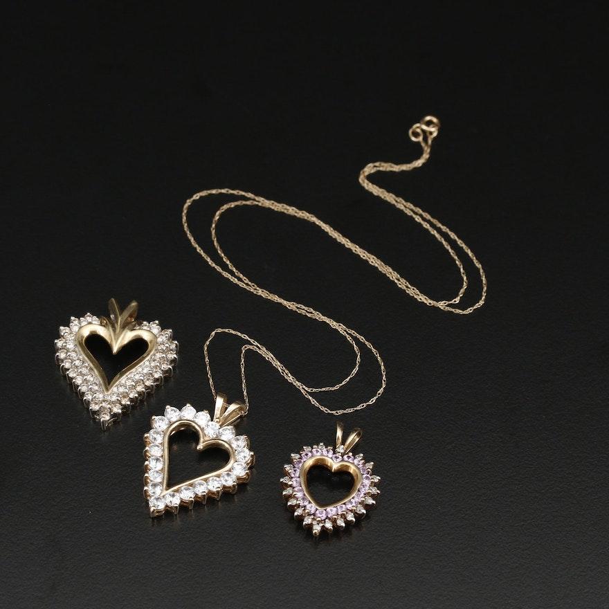 10K Heart Pendants with 1.43 CTW Diamonds, Sapphires and Cubic Zirconia