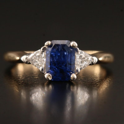 14K 1.29 CT Sapphire and Diamond Ring with GIA Report