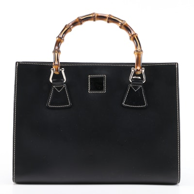 Dooney & Bourke Black Calfskin Leather Two-Way Satchel with Burnished Bamboo