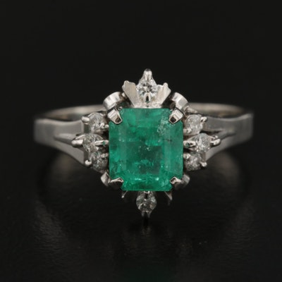 Platinum 1.45 CT Emerald and Diamond Ring