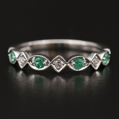 10K Gold Emerald and Diamond Band